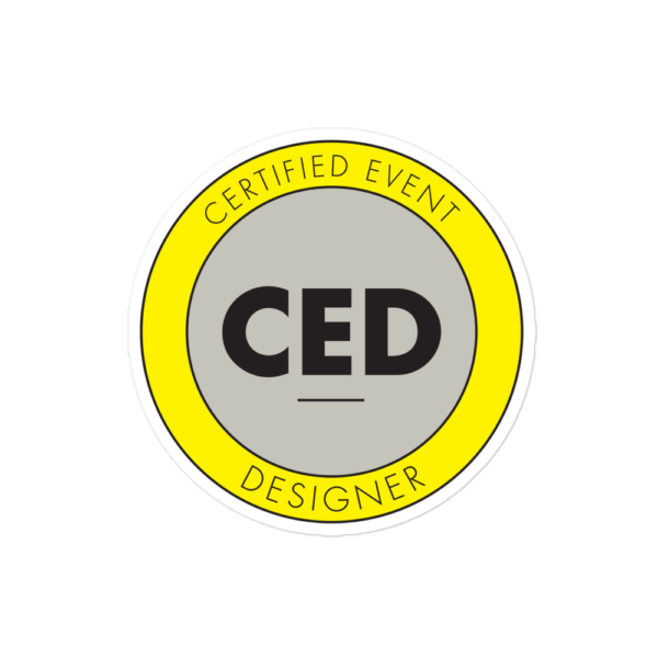 CED Bubble-free stickers for Certified Event Designer Only